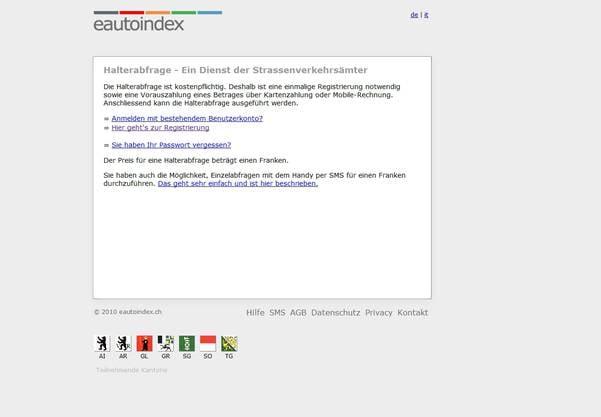 Das Internet-Portal autoindex.sg.ch erlaubt es, die Autonummern abzufragen. Allerdings erst nach einer Registrierung.