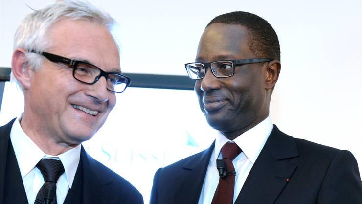 CS-Verwaltungsratspräsident Urs Rohner (l.) und CEO Tidjane Thiam.