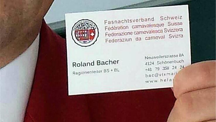 Roland Bacher (Schotte Clique) hat seine Hefari-Visitenkarte selber entworfen.