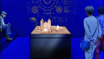 So soll der Ausstellungsraum für den St. Galler Klosterplan aussehen. Ab Frühling 2019 können Besucherinnen und Besucher des Stiftsbezirks erstmals das Original des berühmten Plans aus dem 9. Jahrhundert bestaunen.