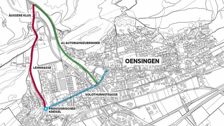 Während der Bauarbeiten am A1-Autobahnzubringer (grün) wird der Verkehr über die Lehngasse (rot) umgeleitet.
