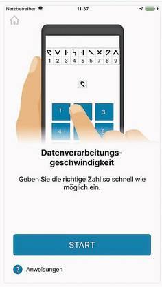 Screenshots der «Floodlight»-App. Man muss eine «8» schreiben, Rätsel lösen oder kleine körperliche Übungen absolvieren.