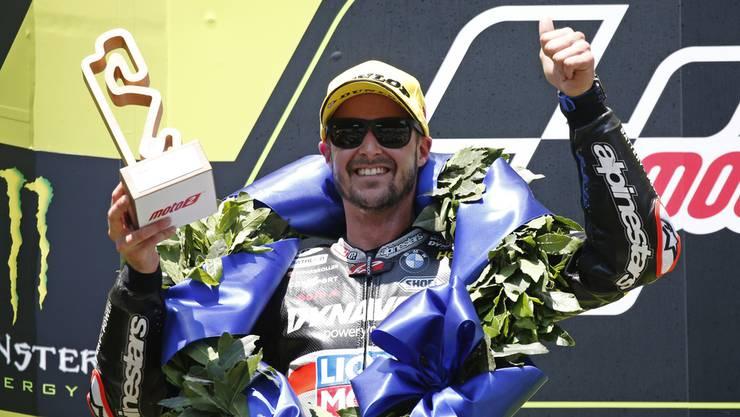 Tom Lüthi nach dem Sieg am Grand Prix von Barcelona.