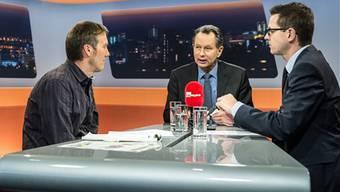 Ecopop- Geschäftführer Andreas Thommen und FDP-Schweiz-Präsident Philipp Müller diskutieren mit az-Chefredaktor Christian Dorer.