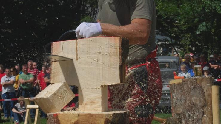 Wettstreit der lustigen Holzhackerbuam