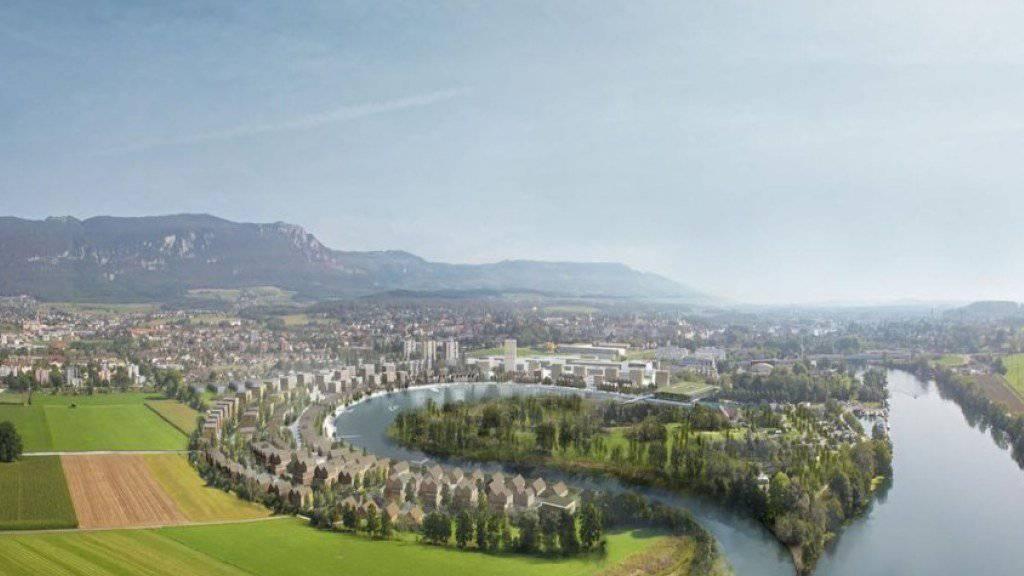 Geplante Wasserstadt in Solothurn für 1000 Einwohner: Das Gebiet an der Aare lässt sich aus rechtlichen Überlegungen nicht einzonen, wie ein Gutachten aufzeigt. Das dürfte das Aus für das ehrgeizige Projekt sein.