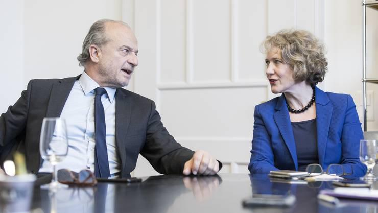 Die politischen Schwergewichte FDP-Stadtrat Filippo Leutenegger und SP-Stadtpräsidentin Corine Mauch kämpfen ums Präsidium.