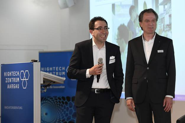 Dr. Martin Ostermaier, InterAx Biotech AG und Peter Morf, Technologie- und Innovationsexperte Hightech Zentrum Aargau.