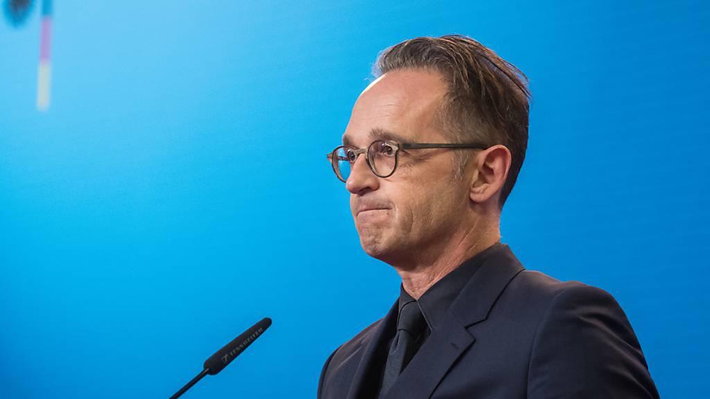 Heiko Maas, Außenminister von Deutschland, bei einer Pressekonferenz im Auswärtigen Amt. Foto: Stefanie Loos/AFP Pool/dpa