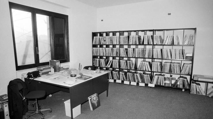 Das Radio 24 Sendestudio in Cernobbio von innen, 1980