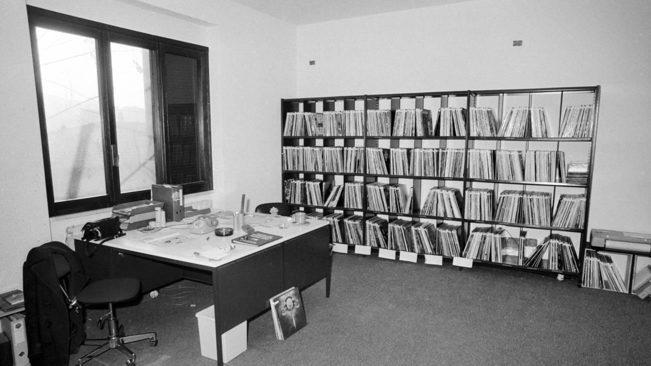 Das Radio 24 Sendestudio in Cernobbio von innen, 1980 (© Keystone)