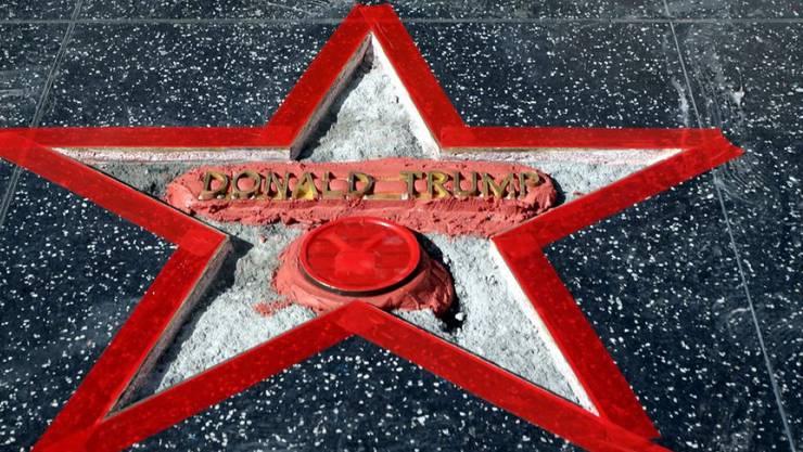 Der Hollywood-Stern für Donald Trump nach der Reparatur.