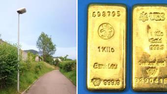 Im Bild die zwei 1-Kilo-Goldbarren. Insgesamt lagen dort 2,6 Kilo.