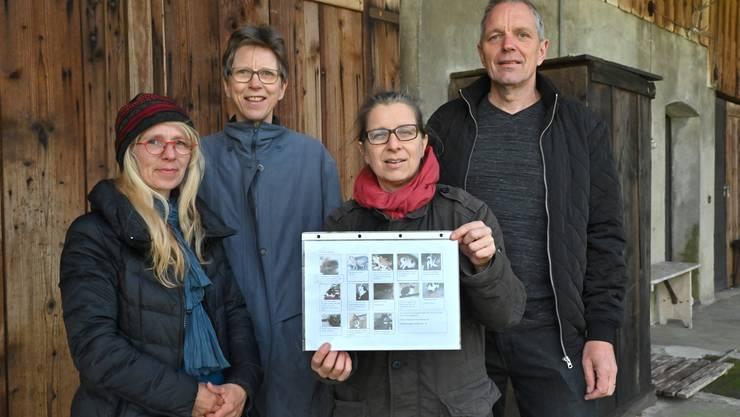 Jeannine Hürzeler, Elisabeth Schenk, Denise Guldimann und Stefan Schenk (von links): Sie kümmern sich um die elf Büsis.