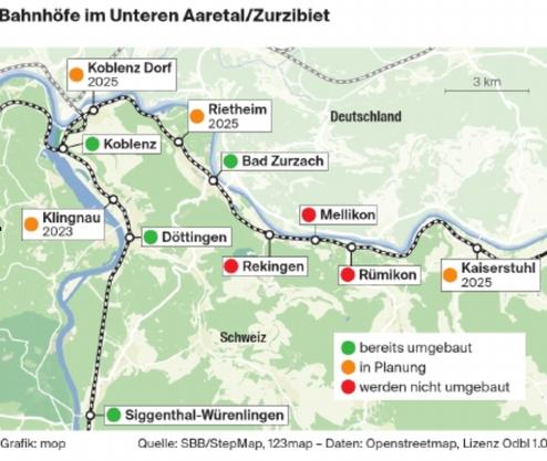 Die Bahnhöfe im Unteren Aaretal/Zurzibiet.