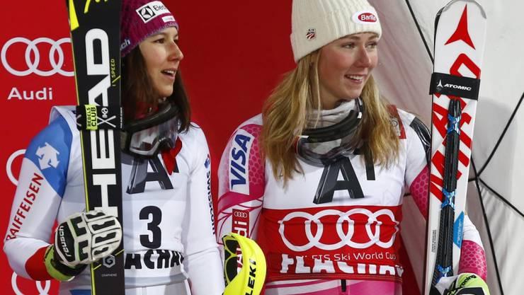 Standen oft zusammen auf dem Slalom-Podium: Mikaela Shiffrin (rechts) und Wendy Holdener