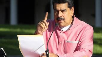 ARCHIV - Nicolas Maduro, Präsident von Venezuela, spricht über die Entwicklung der Corona-Pandemie in Venezuela. Foto: Prensa Miraflores/dpa - ACHTUNG: Nur zur redaktionellen Verwendung und nur mit vollständiger Nennung des vorstehenden Credits