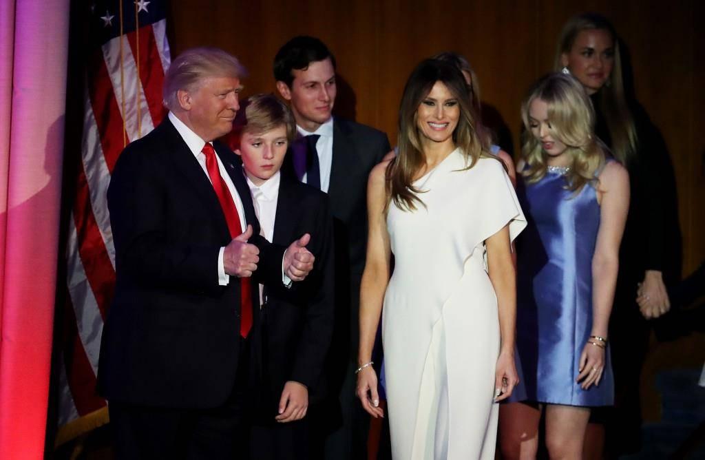 Donald, Barron und Melania Trump zusammen mit Jared Kushner und Tiffany Trump. (© Getty Images)