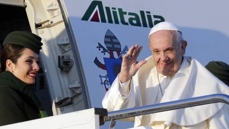 Papst Franziskus am Montag in Rom vor dem Abflug nach Chile.