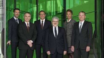 Peter Grünenfelder (Staatsschreiber), Alex Hürzeler, Urs Hofmann, Roland Brogli, Susanne Hochuli und Stephan Attiger.