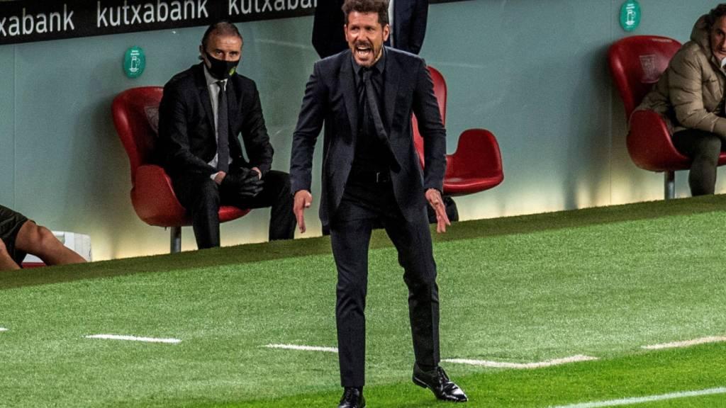 Da hilft auch Schreien nichts: Diego Simeone erlebt mit Leader Atlético in Bilbao einen Abend zum Vergessen