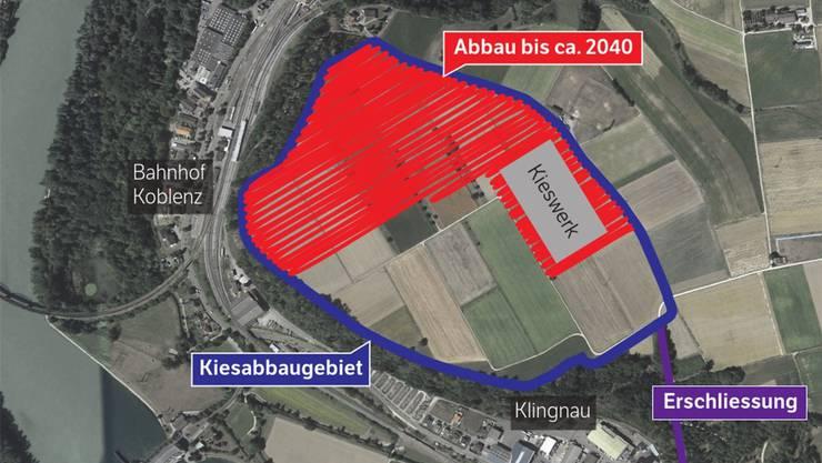 Das Kies wird bis zirka 2040 auf 19 Hektaren Fläche (rot) abgebaut. Im Richtplan ist die blau umrandete Fläche eingetragen.