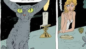 """Mit """"Die Katze des Rabbiners"""" wurde der Comic-Künstler Joann Sfar ein Star: Das Cartoonmuseum Basel zeigt eine Überblicksausstellung zum umfangreichen Werk, das noch sehr viel mehr als das enthält."""