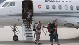 Der Bundesratsjet nahm bei seiner Rückreise aus Nepal neun Schweizer Touristen mit