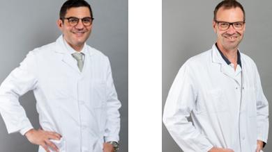 Prof. Antonio Nocito (links), Chefarzt Chirurgie, und PD Matthias Froh, Chefarzt Gastroenterologie.