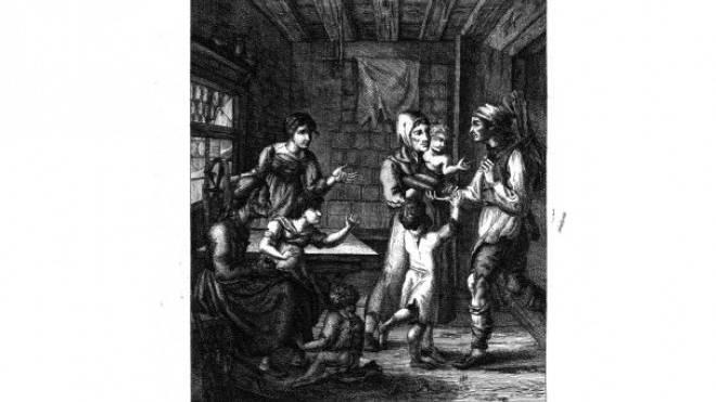 Ein Vater bringt um 1816 nach langer Entbehrung wieder etwas Brot nach Hause. Radierung von Johann Kaspar Schinz um Hu1817