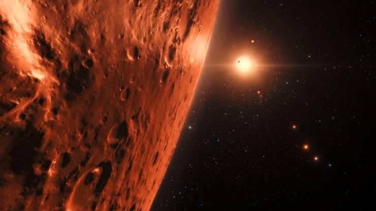 Künstlerische Darstellung eines Planeten im TRAPPIST-1-System.