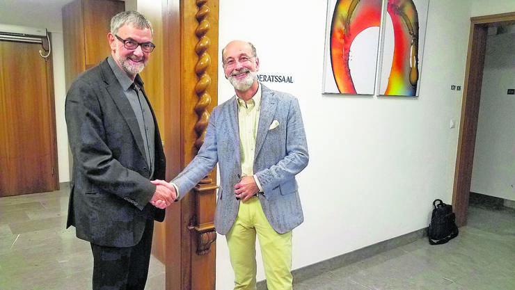 Der bisherige Ammann Reto S. Fuchs (r.) übergibt Bernhard Scheuber die Geschicke. Seine Wahl scheint reine Formsache.