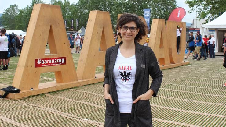Danièle Turkier, Geschäftsführerin von Aarau Standortmarketing, am Eidgenössischen Turnfest 2019