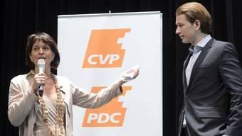 In der Schweiz ein gern gesehener Gast: 2015 trifft ÖVP-Star Sebastian Kurz CVP-Star Doris Leuthard.