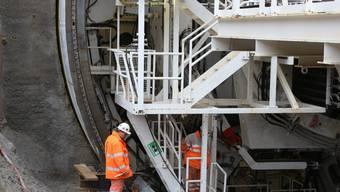 Augenschein auf der Baustelle für den Sanierungstunnel Belchen