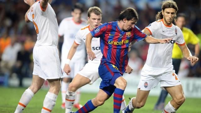 Lionel Messi beschäftigt gleich drei Donezk-Spieler