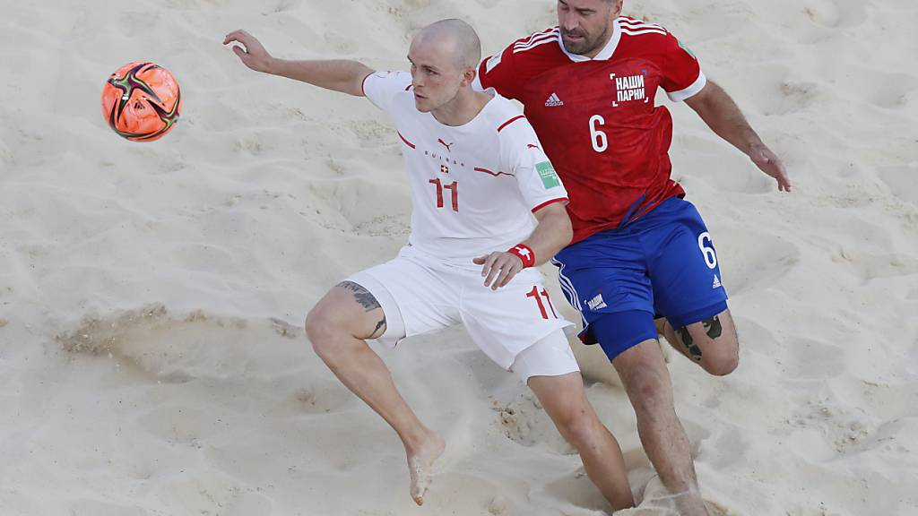 Glenn Hodel und dem Schweizer Nationalteam im Beachsoccer fehlen Sekunden respektive Millimeter zum Einzug in den WM-Final