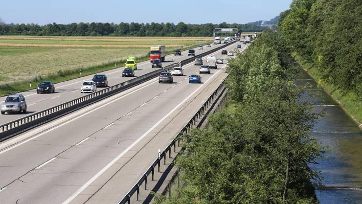 Autobahn A1 zwischen Niederbuchsiten und Oensingen.