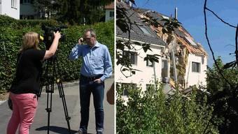 Sicherheitsvorstand Andreas Herren (SP) gibt Auskunft über die Auswirkungen der Schäden (rechts).