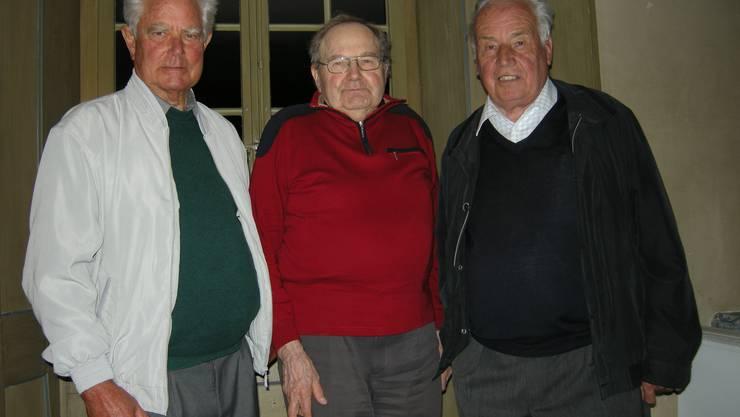 Sie wurden geehrt (v.r.) Bruno Rudolf, Werner Stooss und Heinz Studer.