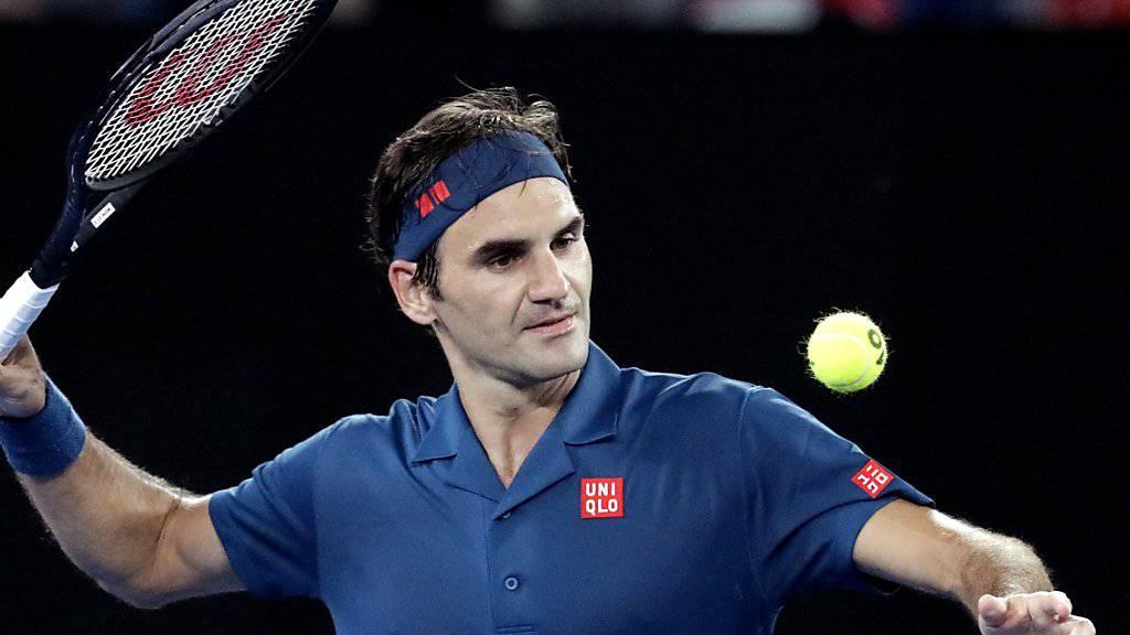 Dürfte am Mittwoch mehr ins Schwitzen kommen als in der 1. Runde: Roger Federer spielt gegen Daniel Evans in der Nachmittagssonne