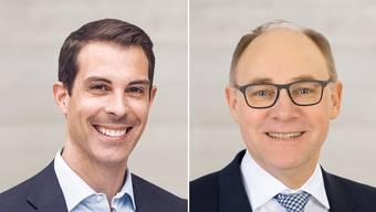 Die beiden Ständeräte: Thierry Burkart (FDP) und Hansjörg Knecht (SVP).