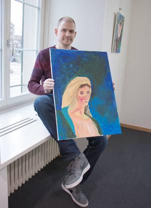 Das Portrait der Maria Magdalena malte der Dietiker Denis Batinic (32) getreu einer Vision, die er während seiner schizophrenen Psychose hatte. In der Stadtbibliothek Dietikon stellt er seine Bilder erstmals aus.