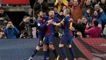 Lionel Messi & Co. jubeln nach dem 1:0-Führungstor gegen Levante