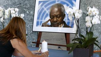 Die Uno nimmt Abschied von Annan. Bild von der Trauerfeier in Genf am Montag. (Archiv)