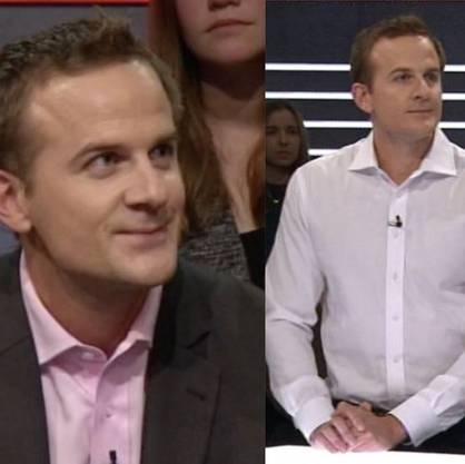 Links: Amberg am 6. Januar in der No-Billag-«Publikumsarena». Rechts: Amberg in der gestrigen Abstimmungsarena