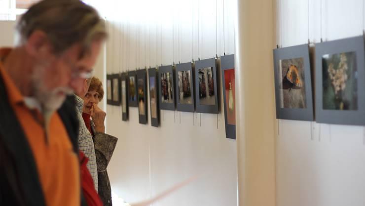 Die Besucher begutachten die 51 Werke der rund 30 Seniorinnen und Senioren im Stadthaus Dietikon