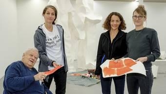 Kunst im Prozess: Dadi Wirz, Franziska Furter, Ines Goldbach und Simone Holliger (v.l.) im Kunsthaus Baselland.