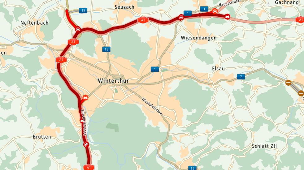 Auf der A1 bei Winterthur liegt der Verkehr still. (Stand: 6.25 Uhr)