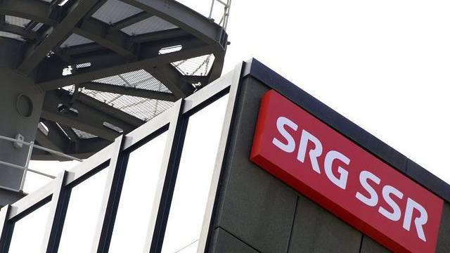 Logo der SRG am Fernsehhaus in Leutschenbach (Archiv)